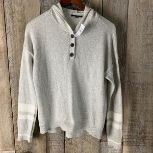 American Eagle Striped Hooded Pullover Jumper Grey